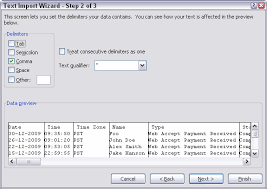 step 2 of the text import wizard define delimiters