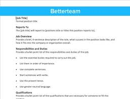 Sample Job Description Template - East.keywesthideaways.co