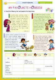 english teaching worksheets hobbies the 1st 45 minute lesson of 2 on the topic my favourite hobbies reading comprehension for upper elementary and lower intermediate students