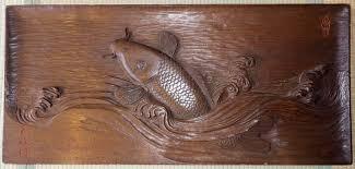 japanese wood carved koi fish jumping out of wave wall hanging on wood carved fish wall art with japanese wood carved koi fish jumping out of wave wall hanging kuraya