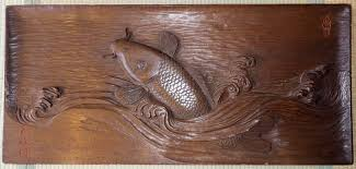 japanese wood carved koi fish jumping out of wave wall hanging