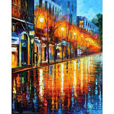 modern landscape palette knife canvas oil paintings early morning in paris for wall art home decor
