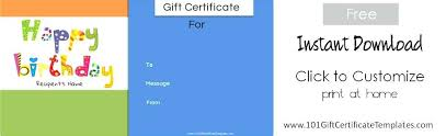 Free Printable Gift Certificates Template Birthday Gift Certificate Voucher Template Printable Card Templates