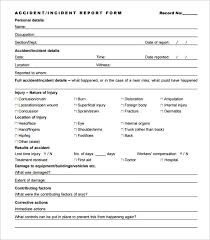 Incident Report Sample Format Adorable Accident Report Forms Template Charlotte Clergy Coalition