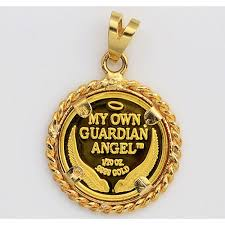 pure 9999 gold guardian angel coin in 14kt gold twisted wire rope pendant