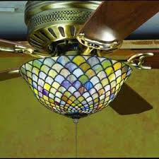 stained glass ceiling fan. Fishscale Tiffany Stained Glass Ceiling Fan Light