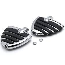 Chrome Motorcycle <b>Wing Foot Pegs</b> Footrests L+R For Suzuki ...