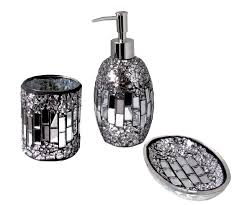 black mosaic bathroom accessories. 3pc modern silver black sparkle mosaic glass tile bathroom accessory set deco accessories b
