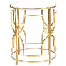 round gold side table mirrored rose bedside ornate with antique mirror top leaf accent drawer