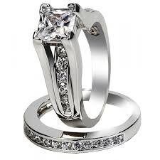 Women S Aaa Cubic Zirconia Princess Cut Sterling Silver Engagement