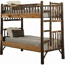 Rustic Hickory Log Bunk Bed Set - Twin Over Twin to Queen over Queen Bed Size Bunk Twin over Twin
