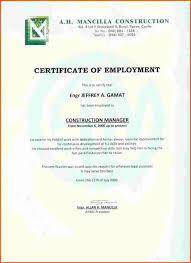 Sample Certificate Employment Template New Certification Employment