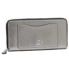 Coach Accordion Zip Wallet Crossgrain Leather F54007 Silver Gunmetal   eBay