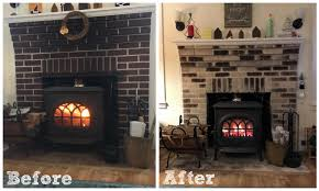 before and after shot whitewash brick fireplace