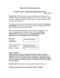 7th Grade Essay Writing How To Write In Middle School The 7th Grade Informational Essay
