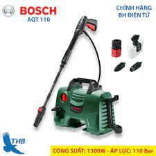 Máy phun xịt rửa Máy rửa xe gia đình Bosch AQT 110 áp lực 110 Bar chạy êm  Tự ngắt khi không chạy Với 2 đầu xịt gom Thương hiệu Đức