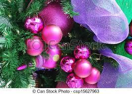 Fuschia Christmas Ornaments Stock Photo