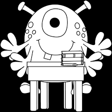 desk clipart black and white. Black And White Four Arm Monster At A Desk Clipart
