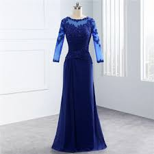 Blue Mother Of The Bride Dress With Long Sleeve Lace