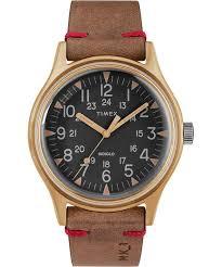 MK1 Steel 40mm 24 Hour Leather Strap <b>Military Watch</b> | Timex