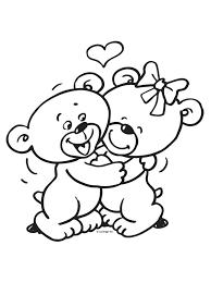 Kleurplaat Valentijnsdag Beertjes Kleurplatennl Clip Art