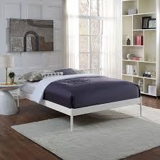 white modern platform bed. Eric White Metal Upholstered Modern Platform Bed Frame