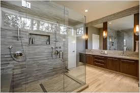 Large Modern Bathroom Design with Double Shower Idea and Glass Door