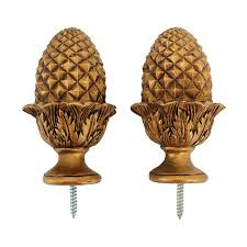 fine design curtain rod finials cheerful toscano acorn 2 pack gold wood at