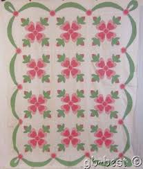 Beautiful c 1930s Pink Rose of Sharon Applique Vintage Quilt TOP ... & Beautiful c 1930s Pink Rose of Sharon Applique Vintage Quilt TOP Swags  Cottage 9 Adamdwight.com