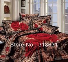 modern y leopard print bedlinen duvet comforter cover set red roses pattern 4pcs