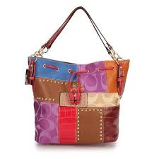 Coach Holiday Stud Large Red Multi Shoulder Bags EBC