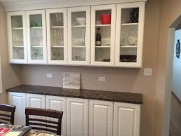 Buffet Kitchen Furniture Traditional Kitchen With Painted White Cabinets And Glass Case