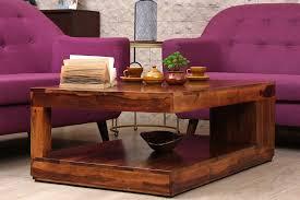 Sheesham Bedroom Furniture Boxy Natural Color Sheesham Wood Square Shape Coffee Table Furniture