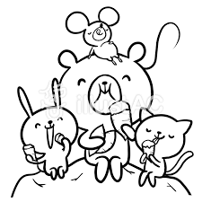 薩摩芋掘り食べる動物熊兎鼠猫線画塗り絵イラスト No 862953無料
