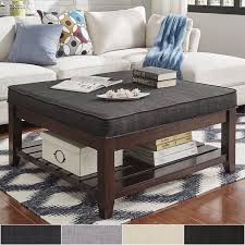 architecture lennon espresso planked storage ottoman coffee table by inspire q within padded tables with design