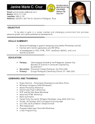 Adorable Resume Format For Job Application Philippines On New