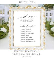 Wedding Order Of Events Sign Printable Rustic Wedding