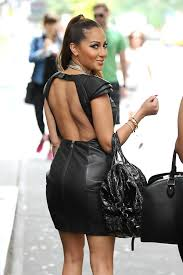 adrienne bailon in tight leather dress