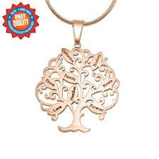 personalised tree of my life necklace 8 18ct rose gold plated the name jewellery