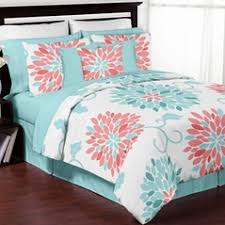 Teen Bedding Sets in Full and Queen Sizes & Turquoise and Coral Emma 3pc Girls Teen Full / Queen Bedding Set Collection  by Sweet Jojo Adamdwight.com