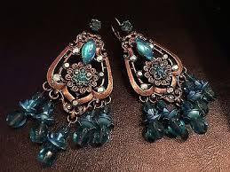 turquoise crystal chandelier earrings