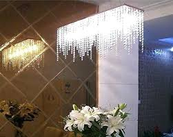 modern linear rectangular island dining room crystal chandelier lighting