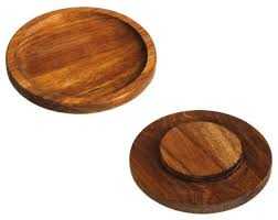 cypress home acacia wood wine glass appetizer plates 2 piece set contemporary dinner plates by gifted living
