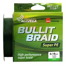 <b>Леска</b> плетеная <b>Allvega Bullit</b> Braid 135 м зеленая 0,18 мм