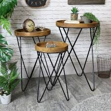 set of rustic round wooden side occasional tables