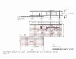 Farnsworth House - Mies van der Rohe - 1951 Floor Plan & Section
