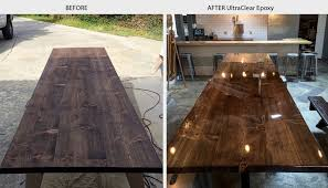 table bar. wood stained table with ultraclear epoxy bar