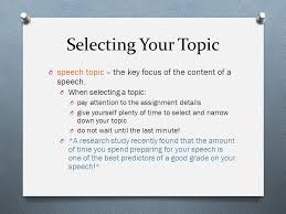 public speaking chapter two ppt video online selecting your topic speech topic the key focus of the content of a speech