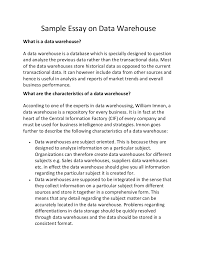 sample essay on data warehouse