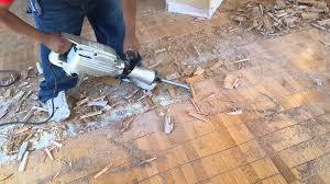 remove glued down hardwood floors